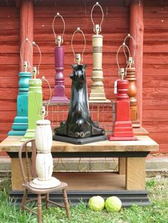 Architectural Salvage Table Lamps made out of porch posts and piano legs from Barn Trash