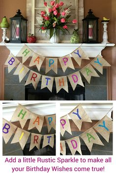 With a little burlap and a little bit of glitter, your birthday party can sparkle and shine! Our Happy Birthday Burlap Banner makes decorating for your party as EASY as pie!  www.burlapdecor.com or www.sherisewsweet.etsy.com