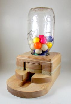 Gumball Dispenser, Wooden Candy Machine, Handmade