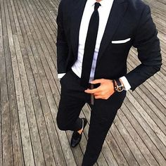 Casual Style Black Man Suit Slim Fit Groom Tuxedos 2 Piece Wedding Suits For Men Bridegroom Suit(Jacket+Pants)terno masculino Mens Fashion Suits, Mens Suits, Fashion Menswear, Grey Suits, Fitted Suits, Stylish Menswear, Tailored Fashion, Stylish Suit, Fashion Mode