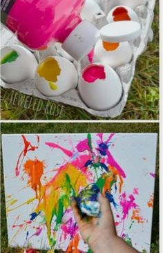 Filled Eggs Tossing paint filled eggs at canvas- SO FUN! Making the eggs is easy, too! My kids loved this art project!Tossing paint filled eggs at canvas- SO FUN! Making the eggs is easy, too! My kids loved this art project! Crafts To Do, Crafts For Kids, Arts And Crafts, Diy Ostern, Ideias Diy, Craft Activities, Painting Activities, Kids Summer Activities, Easter Activities