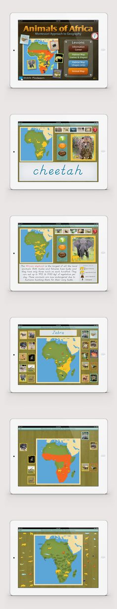 The Animals of Africa app by Mobile Montessori. Learn to identify the animals and where they live on the continent, along with several interesting facts. Use the Habitat Map activities to matchup the animals to their habitats. Use the Animal Map activity to drag and place the animals to the continent map. You will be surprised how much children can learn and retain with our Animals of the Continents series! *** montessori iPad app montessori education homeschool preschool app ***