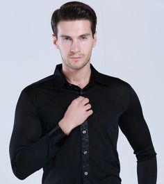 1975ea32d US $19.79 |Fashion Mens Latin Dance Shirt Red Black White Boy Men's  Ballroom Shirts Cha Cha Samba Modern Rumba Tango Salsa Dance Shirt-in Latin  from Novelty ...