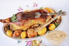 Gasca umpluta a la d′Artagnan European Dishes, Creme Caramel, Romanian Food, Carne, French Toast, Turkey, Chicken, Breakfast, Recipes