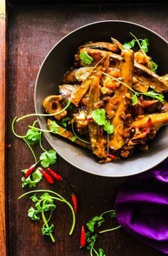 Spicy Asian eggplant curry