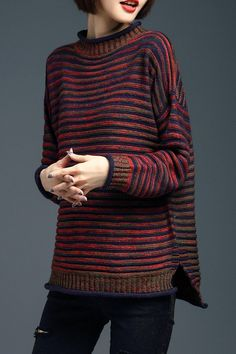 Shop lushijiao colormix side slit stripe ribbed sweater here, find your sweaters at dezzal, huge selection and best quality. Tunic Sweater, Ribbed Sweater, Winter Sweaters, Sweaters For Women, Celebridades Fashion, Striped Knit, Pop Fashion, Cute Tops, Fashion Boutique