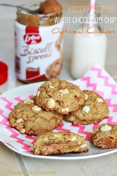 "Biscoff Stuffed White Chocolate Chip Oatmeal Cookies - ""For those of you that have never tried Biscoff, it is an amazing heavenly creamy spread (like peanut butter) that tastes like a delicious cinnamon spiced cookie but better. """