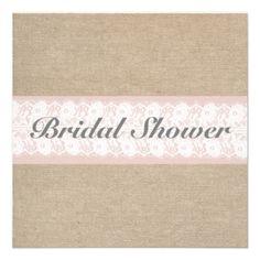 Burlap  Lace Pink Customizable Bridal Shower Invitations