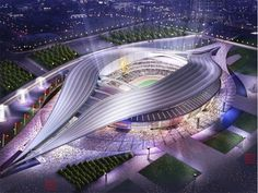 a sports stadium in china. looks like a massive luminescent vulva, and very nice it is too. and I told you this was coming! Futuristic City, Futuristic Architecture, Amazing Architecture, Architecture Design, Future Buildings, Unique Buildings, Amazing Buildings, Stadium Architecture, China Southern Airlines