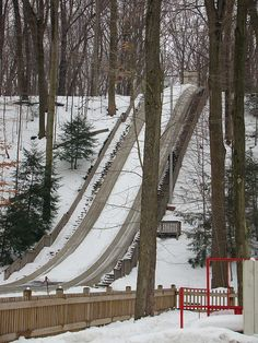 The Chalet Toboggan Chutes: The Chalet is located in Strongsville, Ohio just 20 minutes from downtown Cleveland. The Chalet Toboggan Chutes are the only public ice chutes in Ohio and are open the day after Thanksgiving through the first weekend of March.