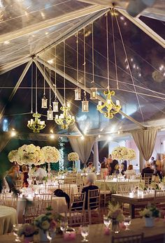 Chandeliers and white roses as wedding reception decor at the Decatur House on Lafayette Square in Washington D.C. (Photo: Kate Headley)