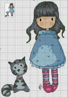 Punto de cruz Cross Stitch For Kids, Cross Stitch Love, Cross Stitch Alphabet, Cross Stitch Charts, Cross Stitch Designs, Cross Stitch Patterns, Cross Stitching, Cross Stitch Embroidery, Stitch Doll