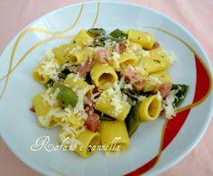Pasta con taccole, pancetta e zafferano  http://blog.giallozafferano.it/rafanoecannella/pasta-con-taccole-pancetta-e-zafferano/