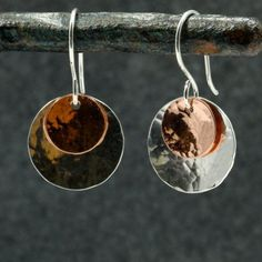 Hammered Silver and Copper Earrings Sterling by SandCanyonJewelry