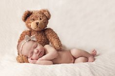 I love the bear. There are many cute newborn photo ideas on this blog