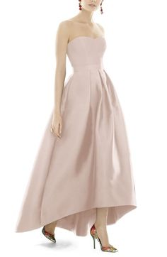 Main Image - Alfred Sung Strapless High/Low Sateen Twill Gown