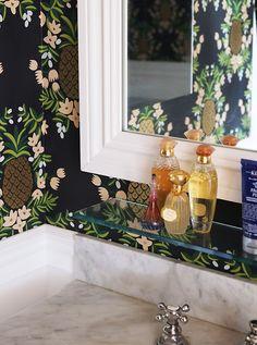 Love the little glass shelf above the sink in Ana Gasteyer's #bathroom makeover – Designed by Manhattan Nest