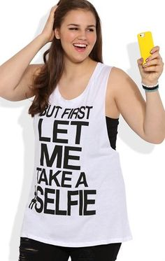 Deb Shops Plus Size Double Twist Back Tank Top with Let Me Take a #Selfie Screen
