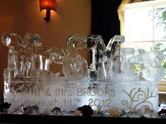 Personalised wedding ice sculpture