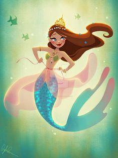 Mermaid Playing Dress-up by DylanBonner.deviantart.com on @DeviantArt
