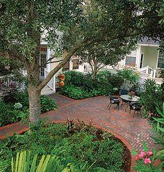 no mow, no grass backyard landscaping ideas. Love the paver patio No Grass Backyard, Backyard Landscaping, Backyard Ideas, Cozy Backyard, Patio Ideas, Back Gardens, Outdoor Gardens, Patio Design, Garden Design
