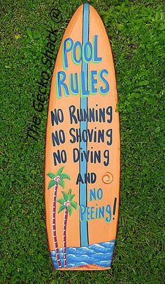 The Pool Rules Sign (Surfboard Shape) high stand out make the rules known Pool Rules Sign, Pool Signs, Bar Signs, Surfboard Shapes, Surf Boards, Metal Garden Art, Beach House Decor, Bath Bombs, Soy Candles