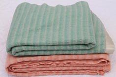 vintage-wool-blankets-mint-green-peach-pink-candy-stripe-bed-blanket-lot-Laurel-Leaf-Farm-item-no-z52754-1.jpg (640×426)