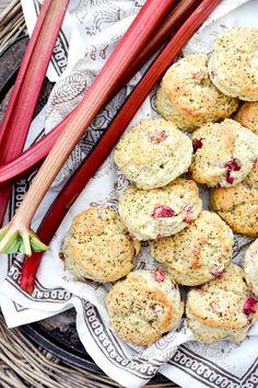 Mini Rhubarb and Jasmine Tea Cream Scones   www.floatingkitchen.net
