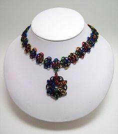 Rainbow necklace, Celtic star, Celtic star necklace, black rainbow, chainmaille choker by Chainedcreativity, $30.00 USD
