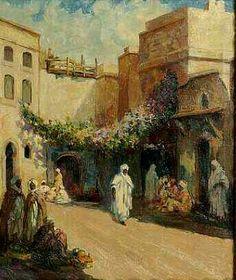Peinture d'Algérie : Peintre Français, Ralph CZIKAN (1867-1931), Huile sur toile, Titre : Scène animée à Alger.