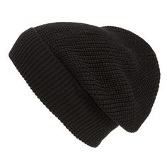 Phase 3 'Stand Up' Basket Knit SlouchyBeanie ($9) ❤ liked on Polyvore featuring accessories, hats, beanies, headwear, black, slouch hat, slouchy hat, beanie hats, knit beanie and black hat