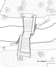 Image 14 of 15 from gallery of School Bridge / Li Xiaodong Atelier. School Plan, Wooden Slats, Dezeen, Planer, How To Plan, Gallery, Bridges, Architectural Sketches, Towers