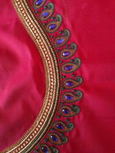 Simple and beautiful Hand Work Blouse Design, Aari Work Blouse, Simple Blouse Designs, Saree Blouse Neck Designs, Bridal Blouse Designs, Blouse Patterns, Aari Embroidery, Embroidery Works, Embroidery Designs