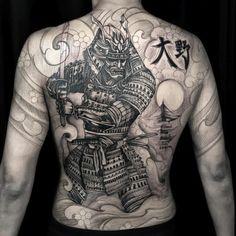 Ems Tattoos, Asian Tattoos, Body Art Tattoos, Tribal Tattoos, Sleeve Tattoos, Samurai Back Tattoo, Japan Tattoo, Urban Threads, Yakuza Tattoo