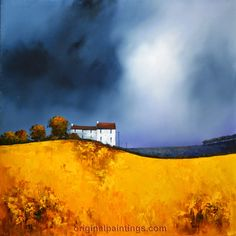 Golden fields forever by Barry Hilton Sky Painting, Abstract Landscape Painting, Watercolor Landscape, Landscape Art, Landscape Paintings, Watercolor Paintings, Abstract Art, Watercolors, Art Techniques