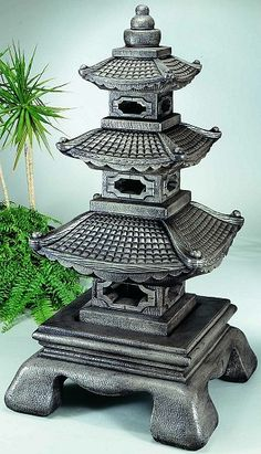 Two Tier Japanese Pagoda Oriental Statues art asian