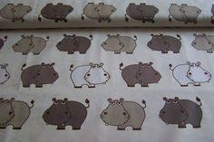 Meterware Baumwollstoff Dekostoff Kinderstoff Nilpferd Hippo Flusspferd