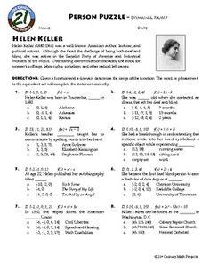 Person Puzzle: Algebra - Domain and Range - Helen Keller WS