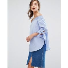 Parallel Lines Off Shoulder Top With Tie Sleeves In Shirting Stripe