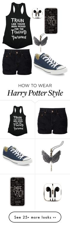 """Harry Potter Binge/Cool for the Summer"" by starryimpossibletardis on Polyvore featuring NSF, Converse and PhunkeeTree"