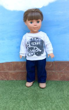 Only one available! 18 Inch Boy Doll Football Sweatshirt and Blue Jeans by…