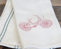 Bicycle kitchen towel by FreshMakedHome on Etsy