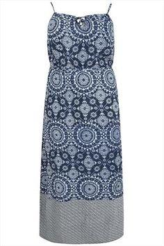 Blue Tile Print Maxi Dress Plus size 14,16,18,20,22,24,26,28,30,32,34,36