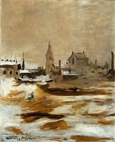 Effect of Snow at Petit-Montrouge, 1870 by Edouard Manet. Impressionism. cityscape. National Museum Cardiff, Cardiff, UK