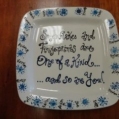 Snowflake finger print plate for a teacher gift made at Paint a Piece Commack