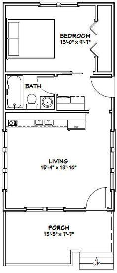 16x30 Tiny House -- #16X30H1E -- 480 sq ft - Excellent Floor Plans