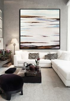 Original Art Extra Large Abstract Painting on Canvas, Landscape Painting Canvas Art, Hand Painted. White Brown Blue.