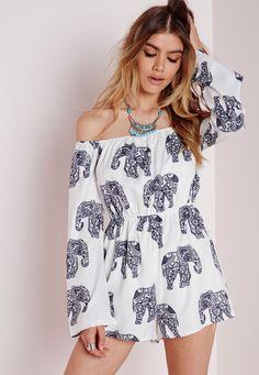 Elephant Print Bardot Playsuit White - Print - Playsuits - Missguided