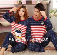 Aliexpress.com   Buy Autumn Winter Pajamas set Men Casual Striped Knitted  Cotton Sleepwear For Women Cloth for home Nightwear Couples Clothing set  from ... b57a21450