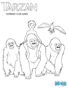 Young Tarzan With His Family Coloring Page Disney PagesColoring SheetsColoring